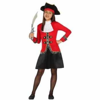 Foute piraten party kleding rood/zwarte jurk voor meisjes