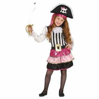 Foute piraten party kleding roze voor meisjes