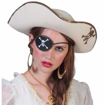 Foute piratenparty kleding accessoires witte piratenhoed met schedel