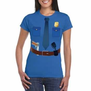 Foute politie uniform party kleding t shirt blauw voor dames