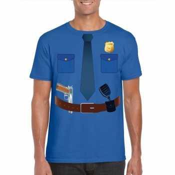 Foute politie uniform party kleding t shirt blauw voor heren