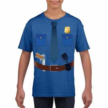 Foute politie uniform party kleding t shirt blauw voor kinderen
