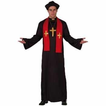 Foute priester party kleding zwart met rood