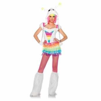 Foute regenboog gekleurd party kleding voor dames