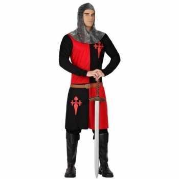 Foute ridder party kleding zwart/rood voor heren