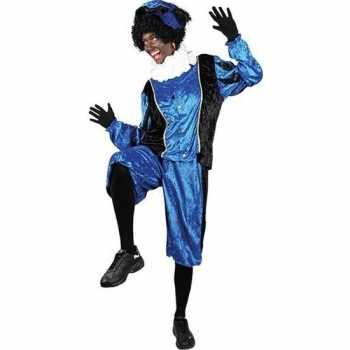 Foute roetveeg pieten party kleding blauw/zwart voor volwassenen