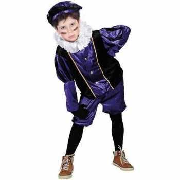 Foute roetveeg pieten party kleding paars/zwart voor kinderen