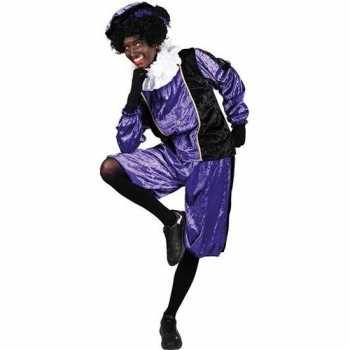 Foute roetveeg pieten party kleding paars/zwart voor volwassenen