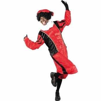 Foute roetveeg pieten party kleding rood/zwart voor volwassenen