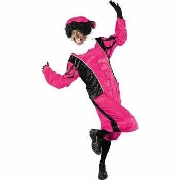 Foute roetveeg pieten party kleding roze/zwart voor volwassenen
