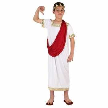 Foute romeinse toga party kleding wit/rood voor jongens