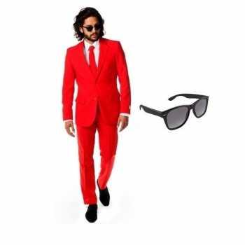 Foute rood heren party kleding maat 50 (l) met gratis zonnebril
