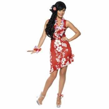 Foute rood/wit hawaii party kleding/jurkje met accessoires dames