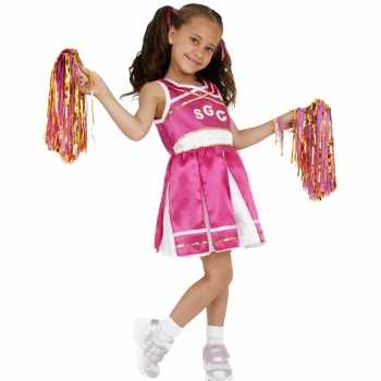Foute roze cheerleader party kleding
