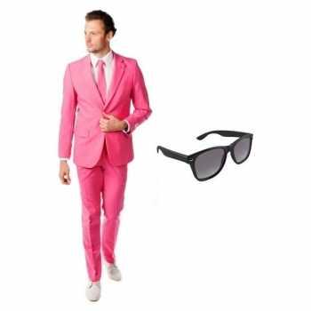 Foute roze heren party kleding maat 48 (m) met gratis zonnebril