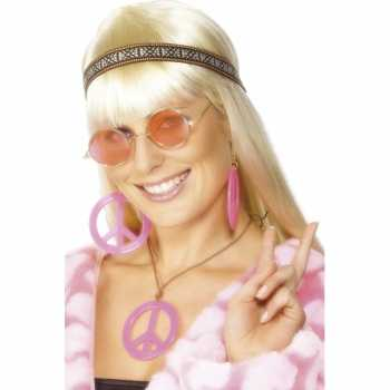 Foute roze hippie peace sieraden pakket party