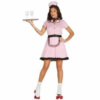 Foute roze serveerster party kleding