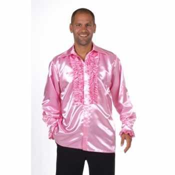 Foute satijnen roze blouse met rouches party