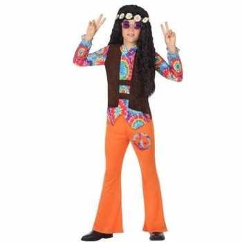 Foute sixties/hippie party kleding oranje voor jongens