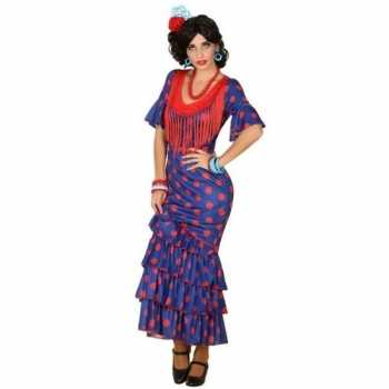 Foute spaanse flamencodanseres jurk blauw party kleding voor dames