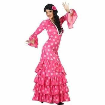 Foute spaanse flamencodanseres jurk roze party kleding voor dames