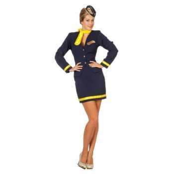 Foute stewardessjurkje blauw party
