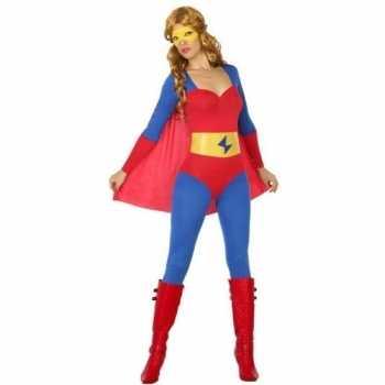 Foute superheld pak/party kleding blauw/rood voor dames