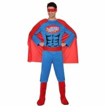 Foute superheld pak/party kleding blauw/rood voor heren