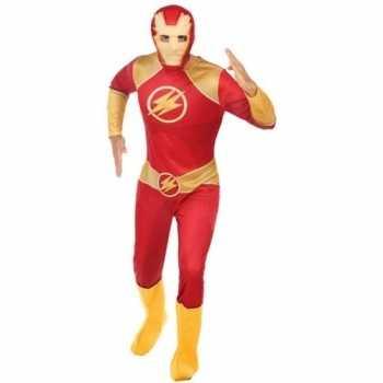 Foute superheld pak/party kleding rood/goud voor heren