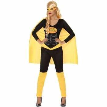 Foute superheld pak/party kleding zwart/geel voor dames