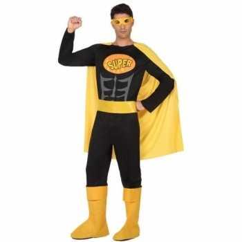 Foute superheld pak party kleding zwart geel voor heren