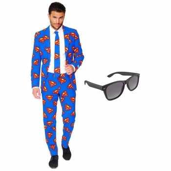 Foute superman heren party kleding maat 54 xxl met gratis zonnebril