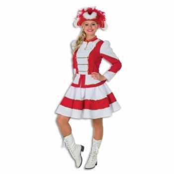 Foute twirl party kleding voor dames rood met wit