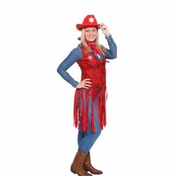 Foute western rood cowgirl party kleding voor dames