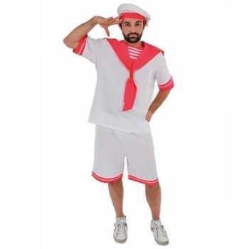 Foute wit/roze matrozen party kleding voor heren