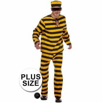 Foute xl inbreker party kleding zwart/geel voor heren