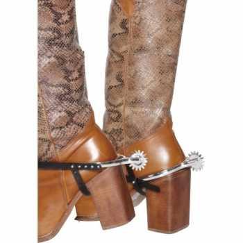 Foute zilveren cowboy sporen voor laarzen party