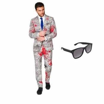 Foute zombie heren party kleding maat 46 (s) met gratis zonnebril