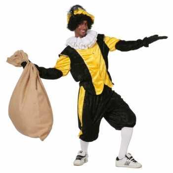 Foute zwart met geel pieten party kleding
