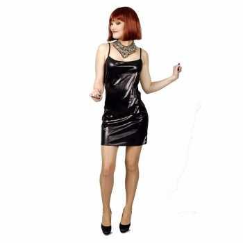 Foute zwart met lichte glitter stretch party kleding jurk