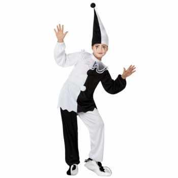 Foute zwart met wit pierrot clown party kleding