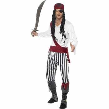 Foute zwart/wit piraten party kleding voor heren