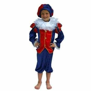 Foute zwarte piet party kleding kind rood/blauw
