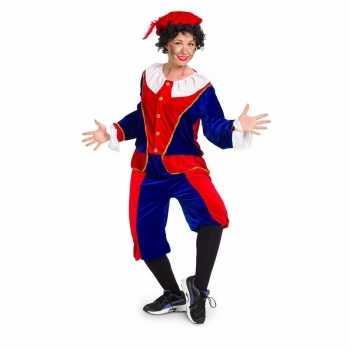 Foute zwarte piet party kleding rood / blauw